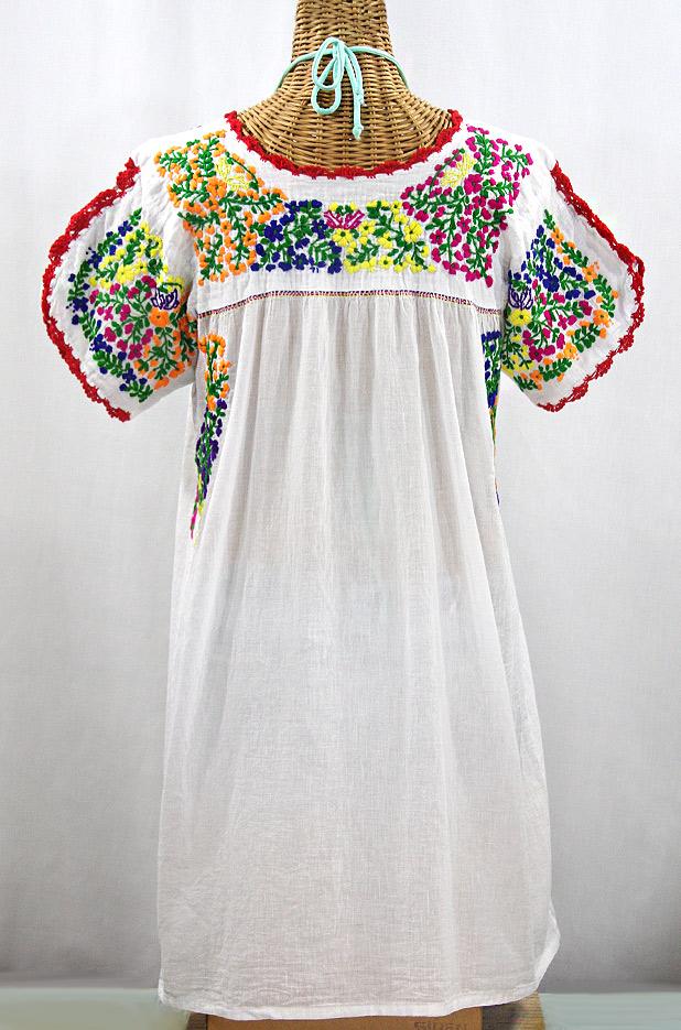 """""""La Caracola"""" Embroidered Mexican Dress - White + Multi"""