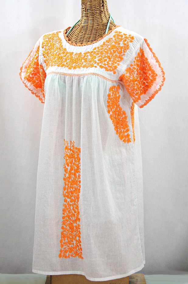 """""""La Caracola"""" Embroidered Mexican Dress - White + Neon Orange"""