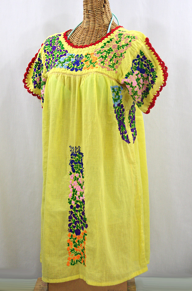 """La Caracola"" Embroidered Mexican Dress - Yellow + Multi"