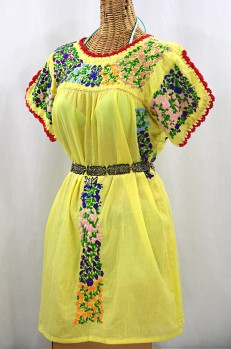 """""""La Caracola"""" Embroidered Mexican Dress - Yellow + Multi"""