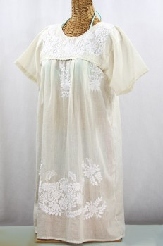 """La Mariposa Corta"" Open Sleeve Embroidered Mexican Dress - Cream"