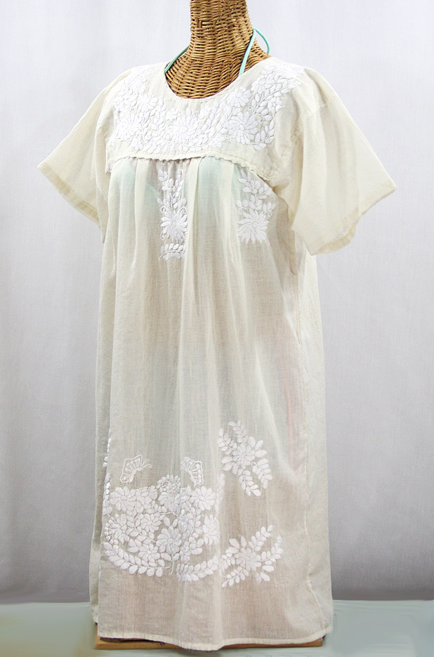 "60% Off Final Sale ""La Mariposa Corta"" Open Sleeve Embroidered Mexican Dress - Cream"
