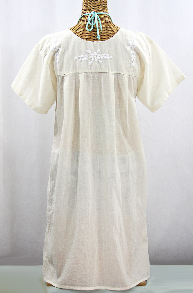 "Final Sale 60% Off -- ""La Mariposa Corta"" Open Sleeve Embroidered Mexican Dress - Cream"