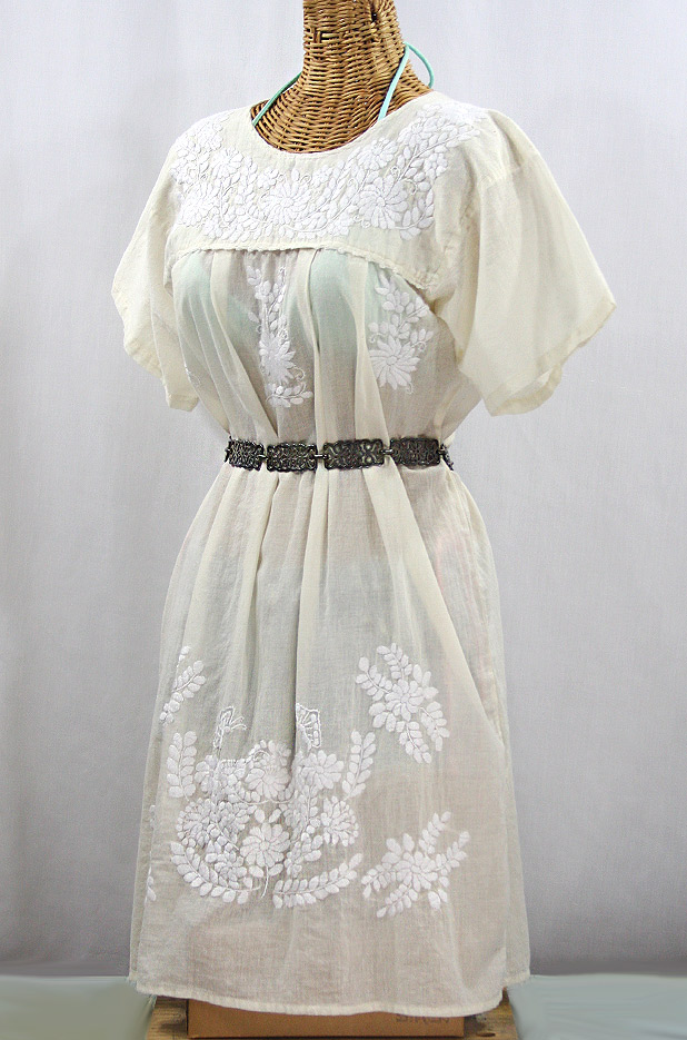 """La Mariposa Corta"" Open Sleeve Embroidered Mexican Dress - Cream"