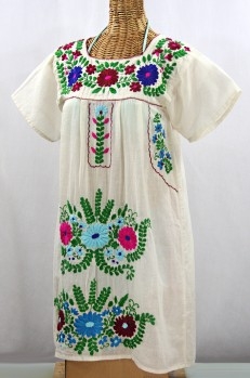"""La Poblana"" Open Sleeve Embroidered Mexican Dress - Off White + Multi"