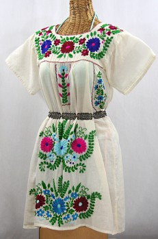 """""""La Poblana"""" Open Sleeve Embroidered Mexican Dress - Off White + Multi"""
