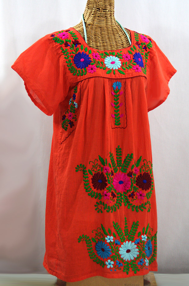 """La Poblana"" Open Sleeve Embroidered Mexican Dress - Orange + Multi"