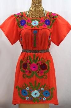 """La Poblana"" Open Sleeve Embroidered Mexican Dress - Orange + Multi"