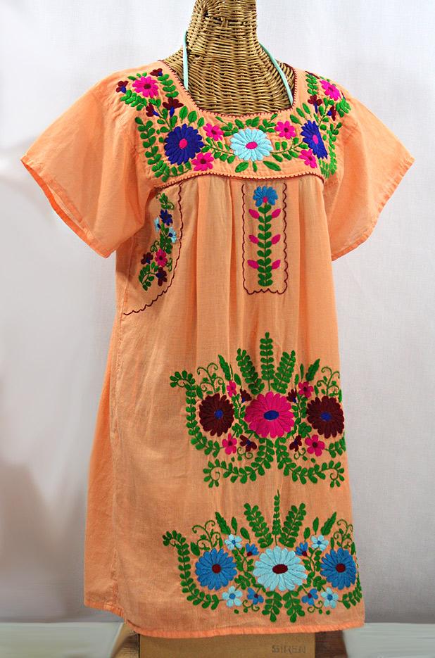 """""""La Poblana"""" Open Sleeve Embroidered Mexican Dress - Orange Cream + Multi"""