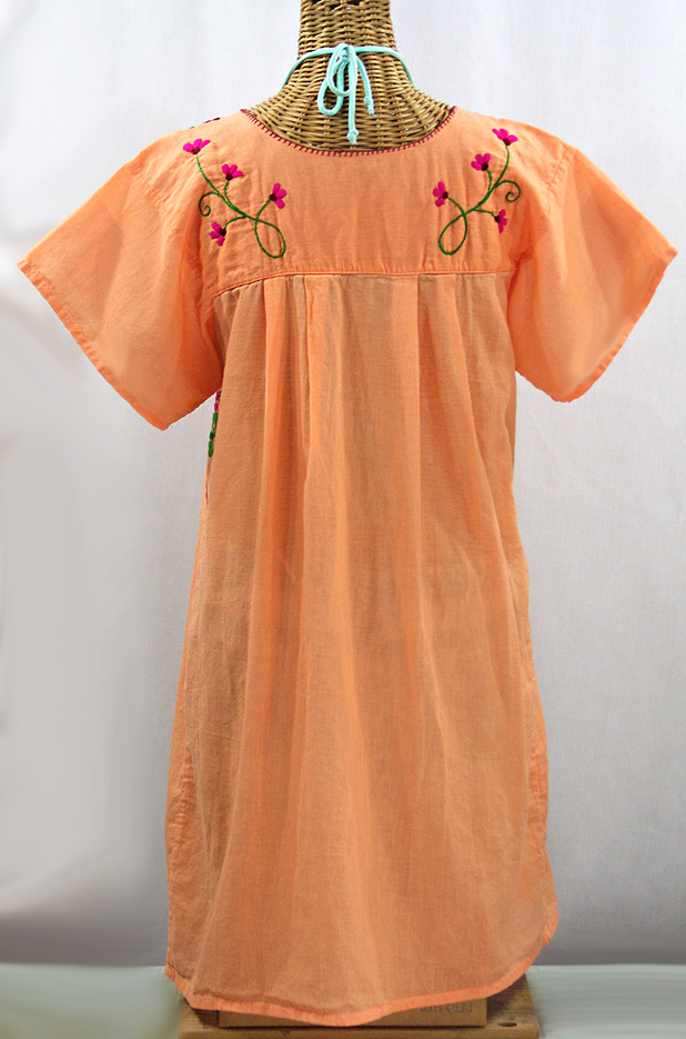 """La Poblana"" Open Sleeve Embroidered Mexican Dress - Orange Cream + Multi"