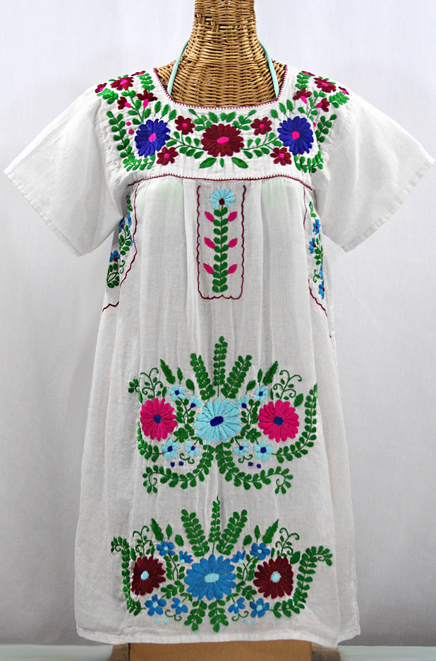 """La Poblana"" Open Sleeve Embroidered Mexican Dress - White + Multi"