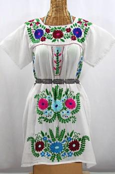 """La Poblana"" Open Sleeve Embroidered Mexican Dress - White + Multi"