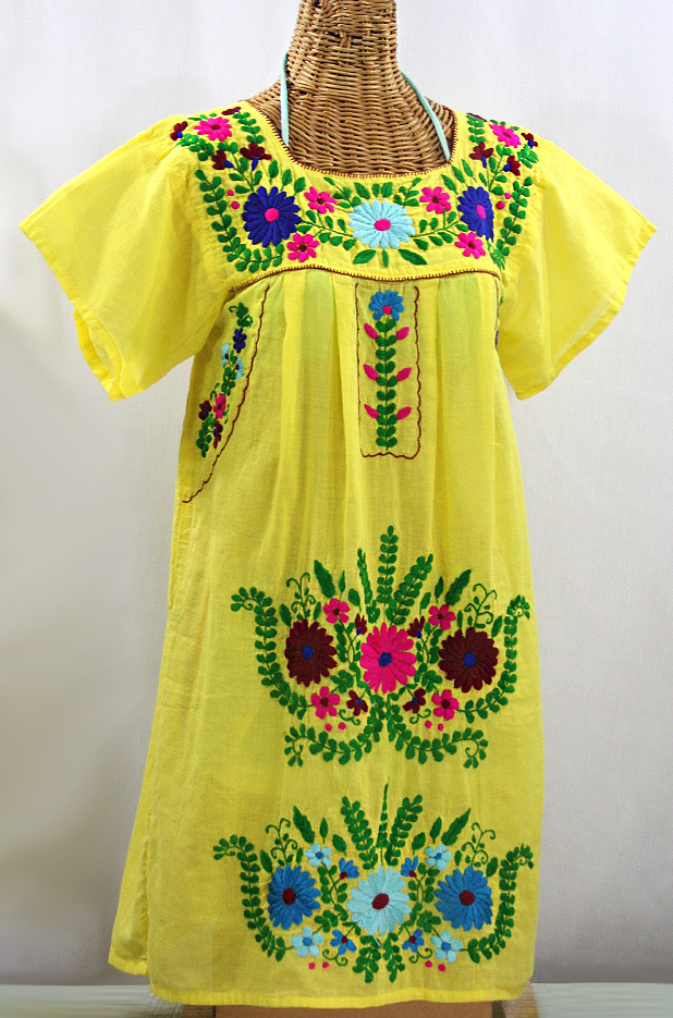 """La Poblana"" Open Sleeve Embroidered Mexican Dress - Yellow + Multi"