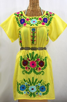 """""""La Poblana"""" Open Sleeve Embroidered Mexican Dress - Yellow + Multi"""