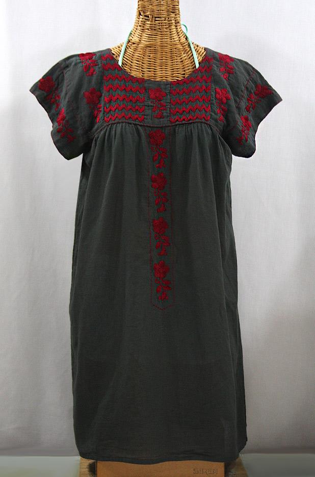 """La Raya"" Open Sleeve Embroidered Mexican Dress - Charcoal + Maroon"