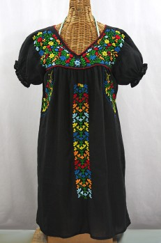 """La Saladita"" Puff Sleeve Embroidered Mexican Dress - Black + Multi"