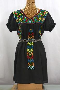 "Final Sale 60% Off -- ""La Saladita"" Puff Sleeve Embroidered Mexican Dress - Black + Multi"