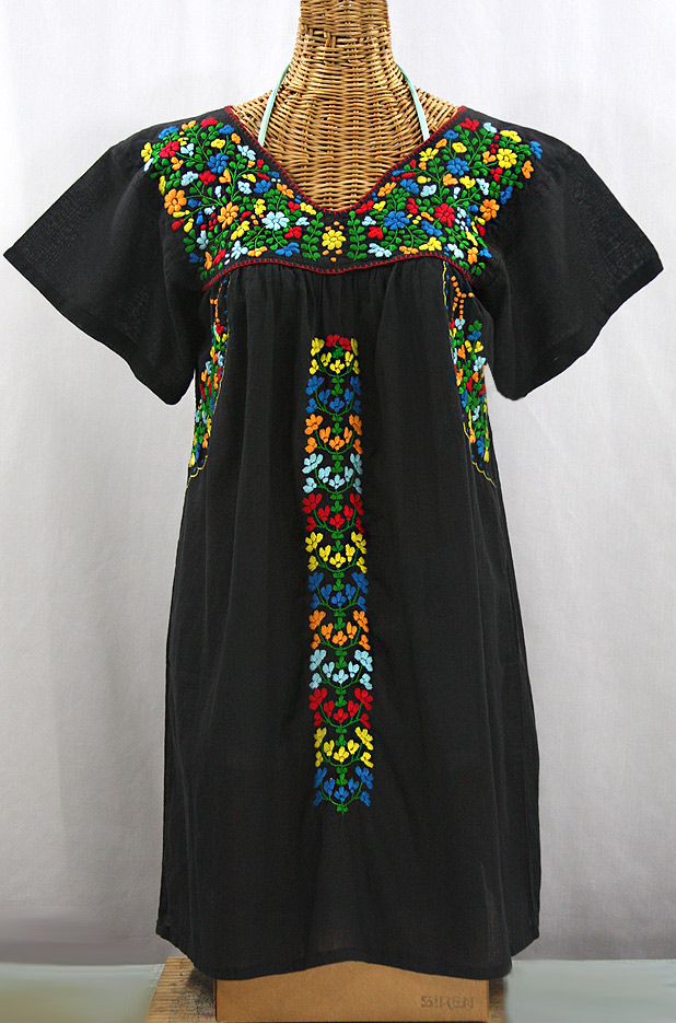 "Final Sale 60% Off -- ""La Saladita"" Open Sleeve Embroidered Mexican Dress - Black + Multi"