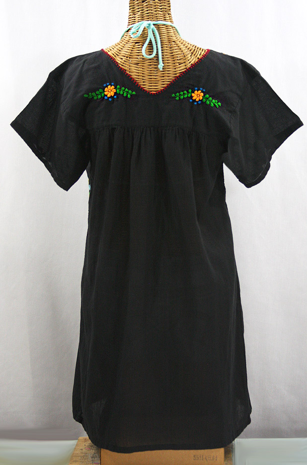 """La Saladita"" Open Sleeve Embroidered Mexican Dress - Black + Multi"
