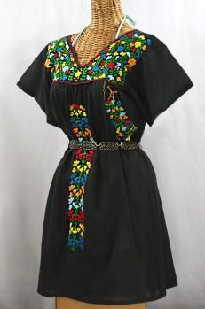 "Final Sale 60% Off -- ""La Saladita"" Open Sleeve Embroidered Mexican Dress - Black + Multi"