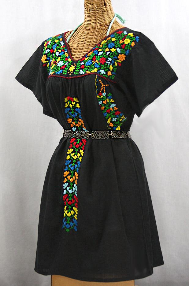 """La Saladita"" Open Sleeve Embroidered Mexican Dress - Black + Multi"