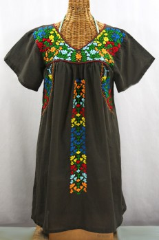 """La Saladita"" Open Sleeve Embroidered Mexican Dress - Brown + Multi"