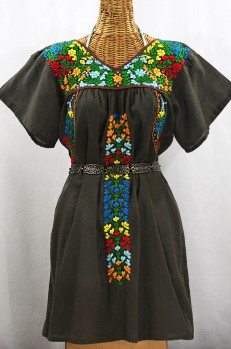 """Final Sale 60% Off -- """"La Saladita"""" Open Sleeve Embroidered Mexican Dress - Brown + Multi"""