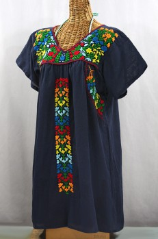 """La Saladita"" Open Sleeve Embroidered Mexican Dress - Navy Blue + Multi"