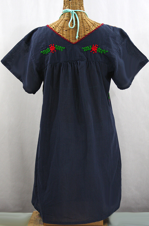 """""""La Saladita"""" Open Sleeve Embroidered Mexican Dress - Navy Blue + Multi"""