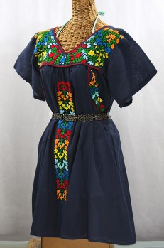 """Final Sale 60% Off -- """"La Saladita"""" Open Sleeve Embroidered Mexican Dress - Navy Blue + Multi"""