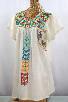 """La Saladita"" Open Sleeve Embroidered Mexican Dress - Off White + Multi"