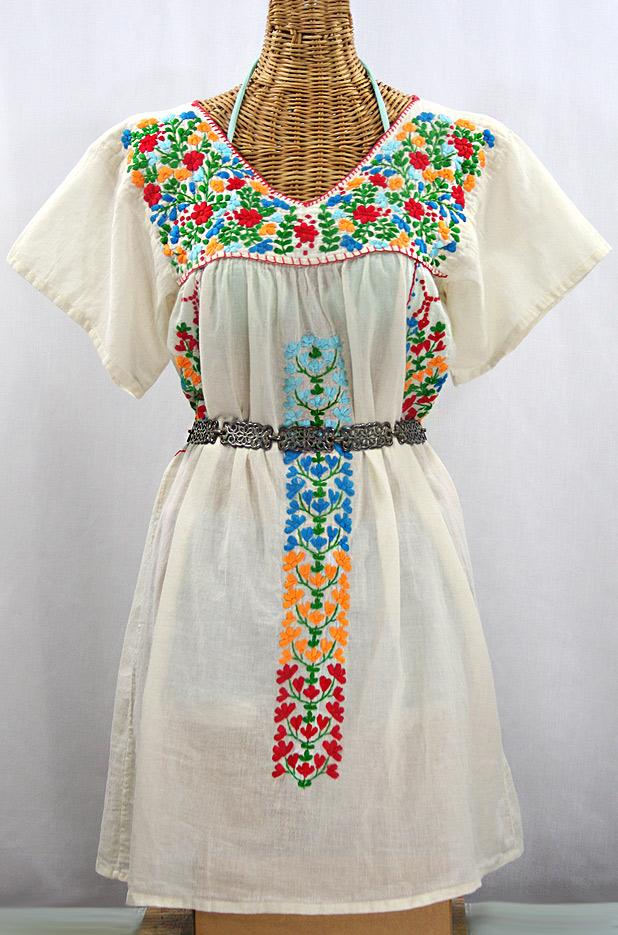 """La Saladita"" Open Sleeve Embroidered Mexican Dress - Off White + Multi"