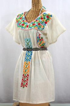 """Final Sale 60% Off -- """"La Saladita"""" Open Sleeve Embroidered Mexican Dress - Off White + Multi"""
