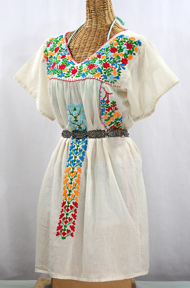 "Final Sale 60% Off -- ""La Saladita"" Open Sleeve Embroidered Mexican Dress - Off White + Multi"