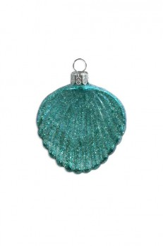 Aqua Glittered Cockle Sea Shell Blown Glass Ornament