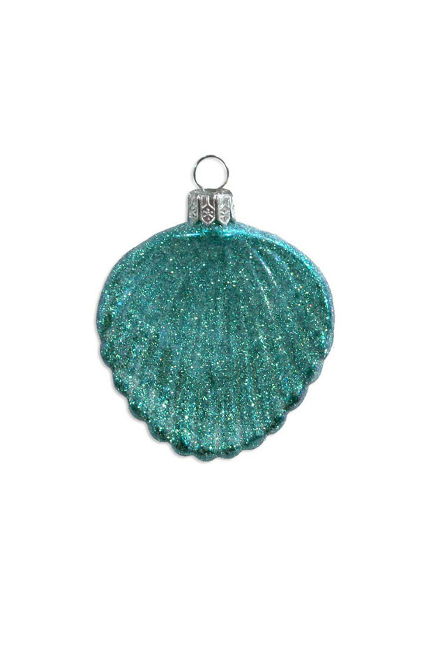 Aqua Glittered Cockle Sea Shell Blown Glass Ornament