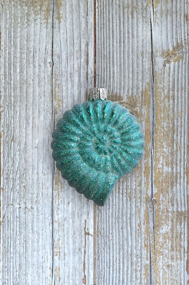 Aqua Glittered Moon Shell Blown Glass Ornament