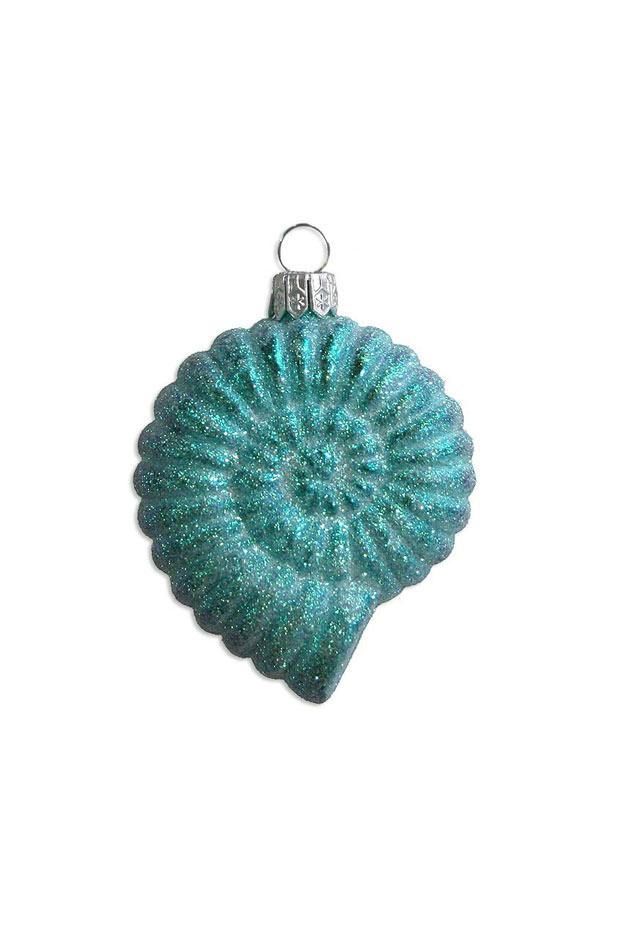 Aqua Glittered Moon Shell Blown Glass Ornament