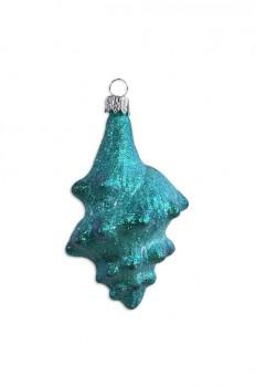 Aqua Glittered Conch Sea Shell Blown Glass Ornament