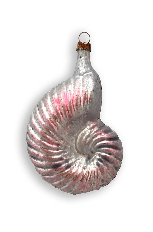 PInk Sea Shell Blown Glass Ornament