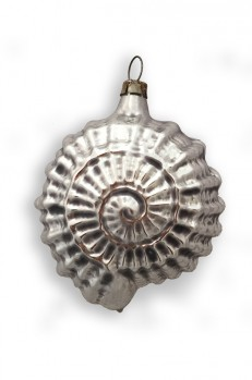 Silver Sea Shell Blown Glass Ornament