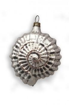 Silver Sea Shell Blown Glass Ornament