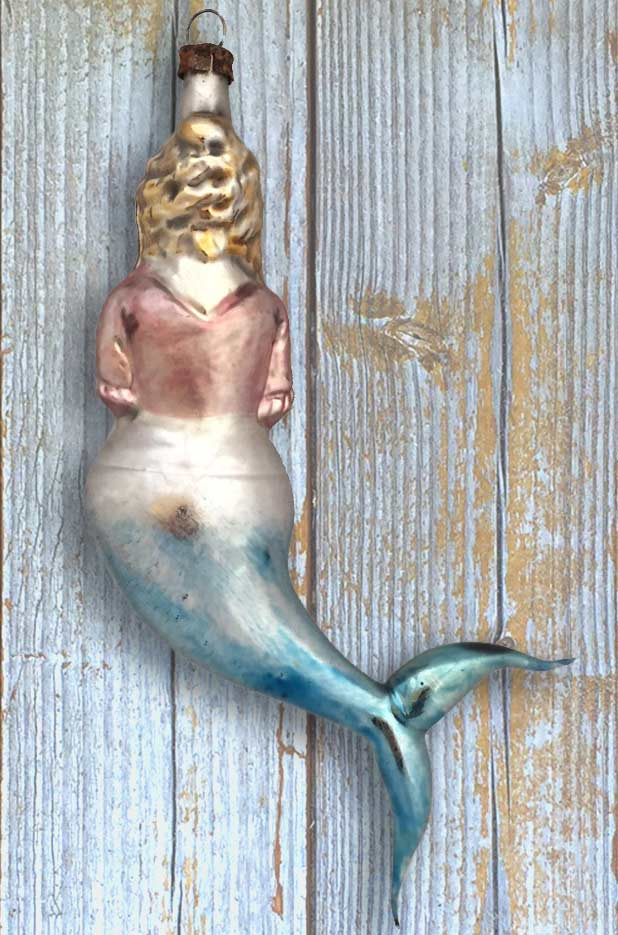 Victorian Pirate Wench Mermaid Blown Glass Ornament