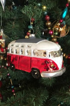 Red VW Bus Blown Glass Ornament