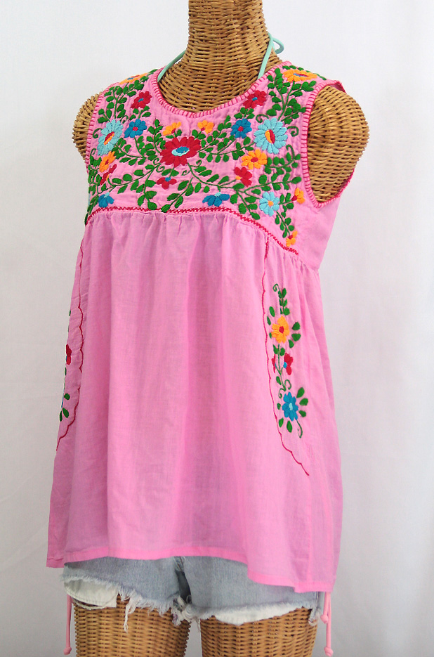 """La Pasea"" Embroidered Mexican Style Peasant Top -Bubblegum Pink + Fiesta"