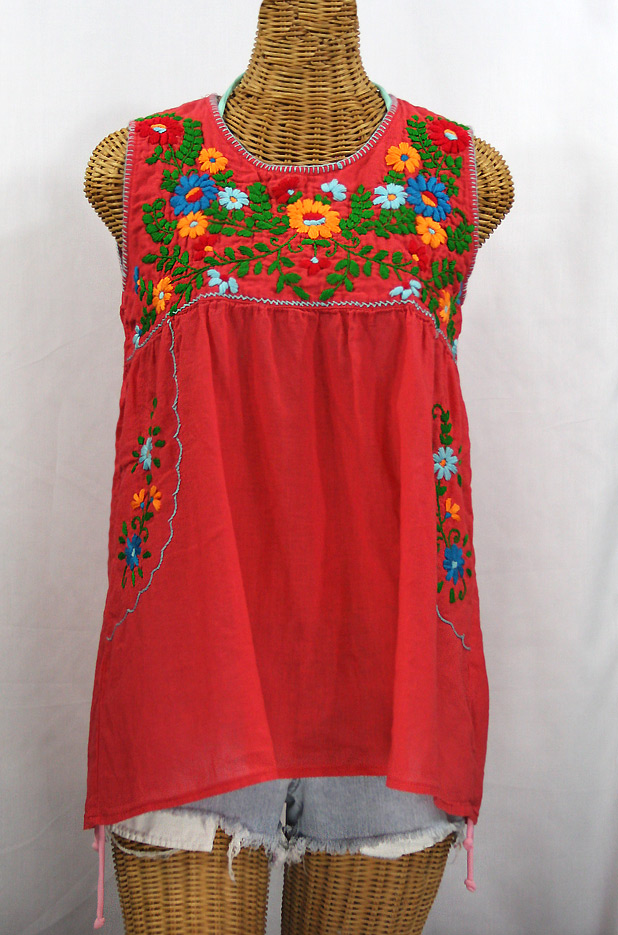 """""""La Pasea"""" Embroidered Mexican Style Peasant Top -Coral + Fiesta"""
