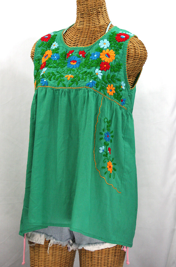 """""""La Pasea"""" Embroidered Mexican Style Peasant Top -Green + Fiesta"""