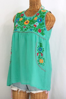 """""""La Pasea"""" Embroidered Mexican Style Peasant Top -Mint Green"""