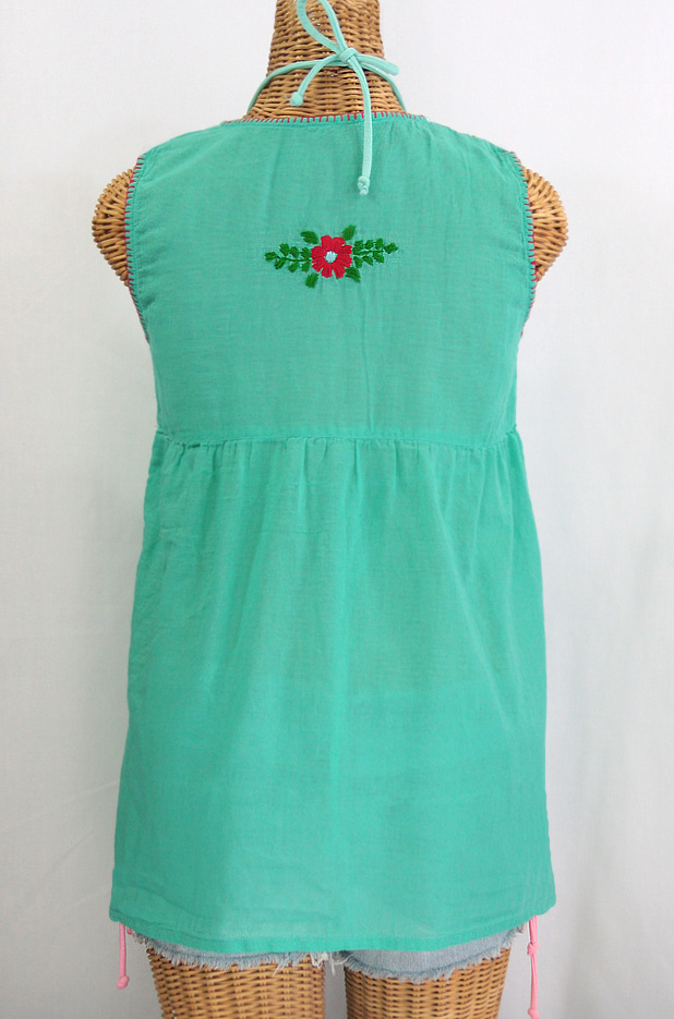 """La Pasea"" Embroidered Mexican Style Peasant Top -Mint Green"