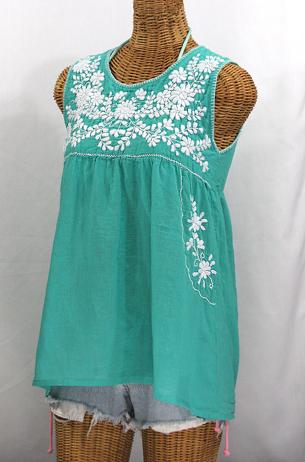 """""""La Pasea"""" Embroidered Mexican Style Peasant Top -Mint Green + White"""